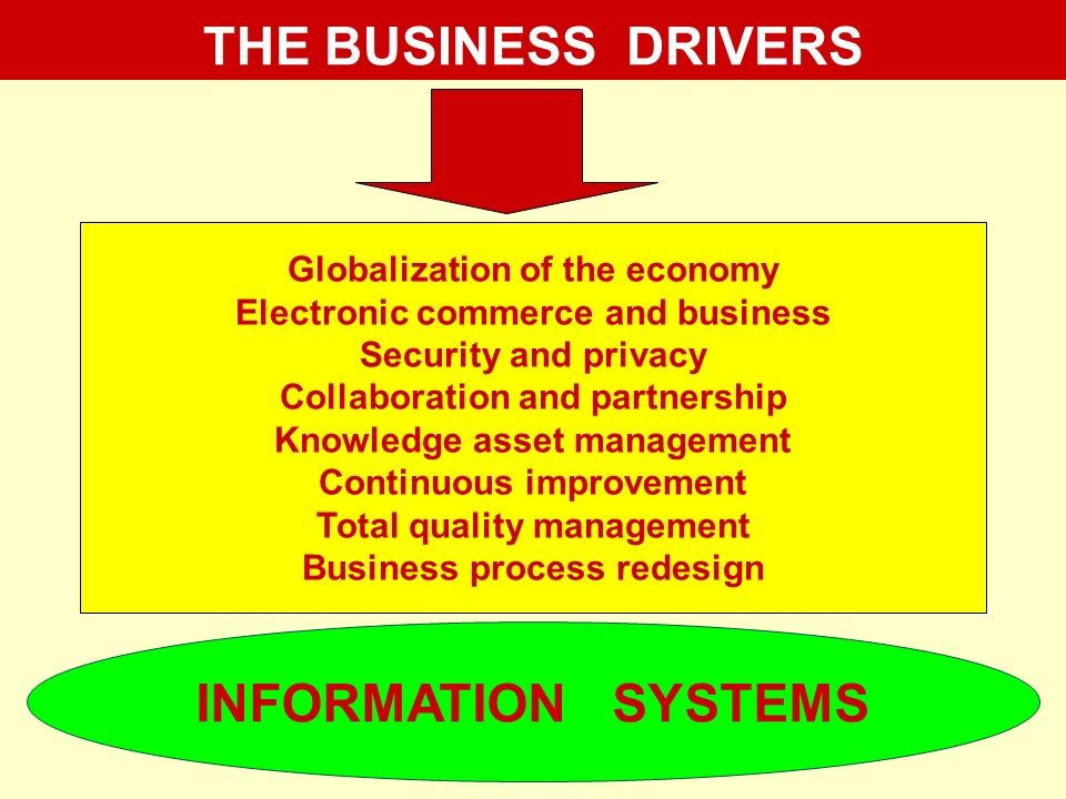 THE BUSINESS DRIVERS INFORMATION SYSTEMS
