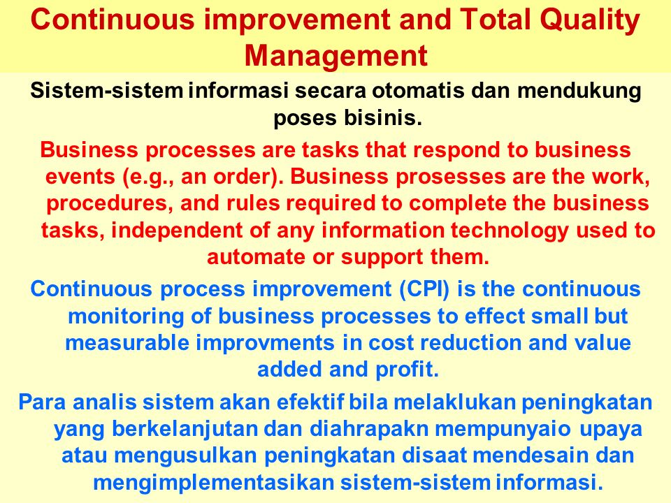 Continuous improvement and Total Quality Management