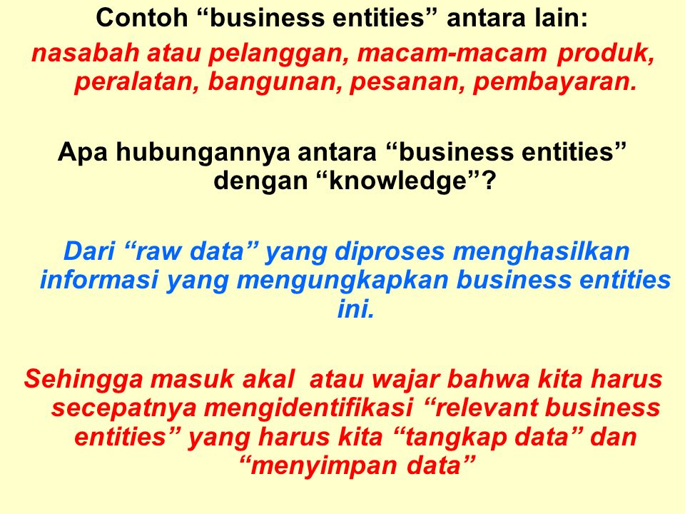 Contoh business entities antara lain: