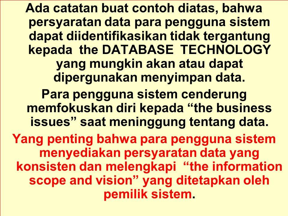 Ada catatan buat contoh diatas, bahwa persyaratan data para pengguna sistem dapat diidentifikasikan tidak tergantung kepada the DATABASE TECHNOLOGY yang mungkin akan atau dapat dipergunakan menyimpan data.