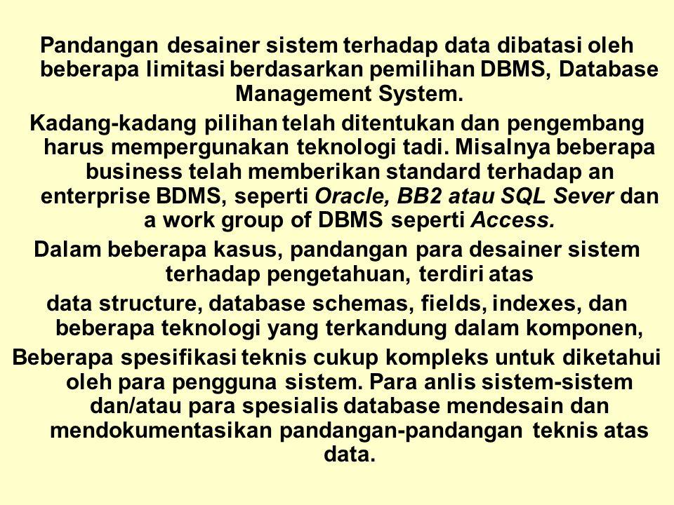 Pandangan desainer sistem terhadap data dibatasi oleh beberapa limitasi berdasarkan pemilihan DBMS, Database Management System.