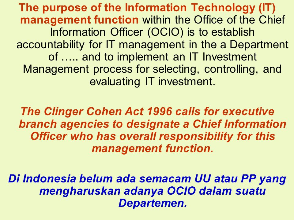 The purpose of the Information Technology (IT) management function within the Office of the Chief Information Officer (OCIO) is to establish accountability for IT management in the a Department of ….. and to implement an IT Investment Management process for selecting, controlling, and evaluating IT investment.