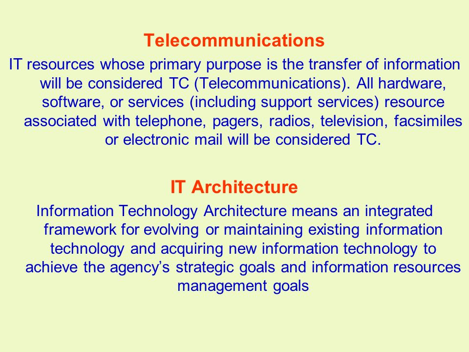 Telecommunications IT Architecture