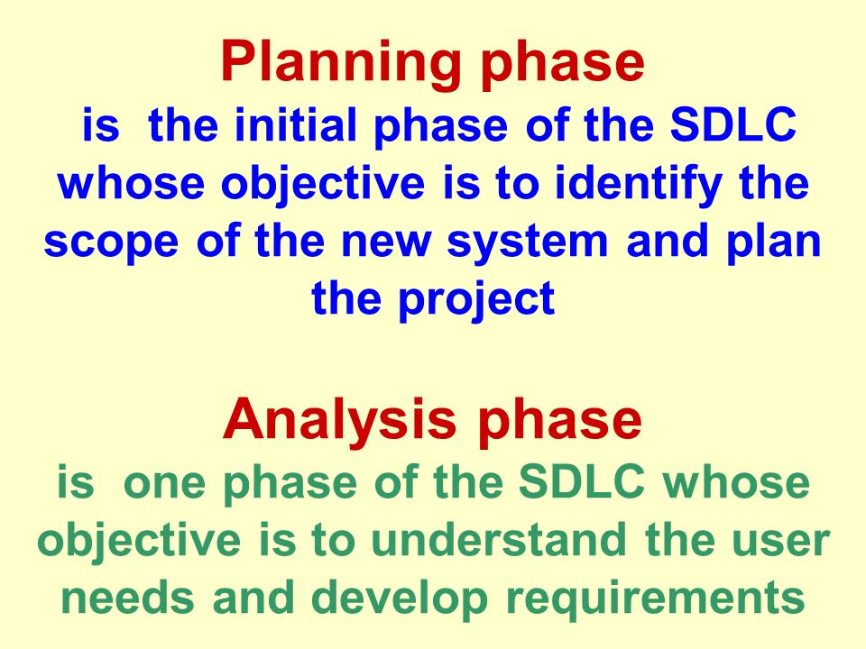 Planning phase is the initial phase of the SDLC whose objective is to identify the scope of the new system and plan the project Analysis phase is one phase of the SDLC whose objective is to understand the user needs and develop requirements