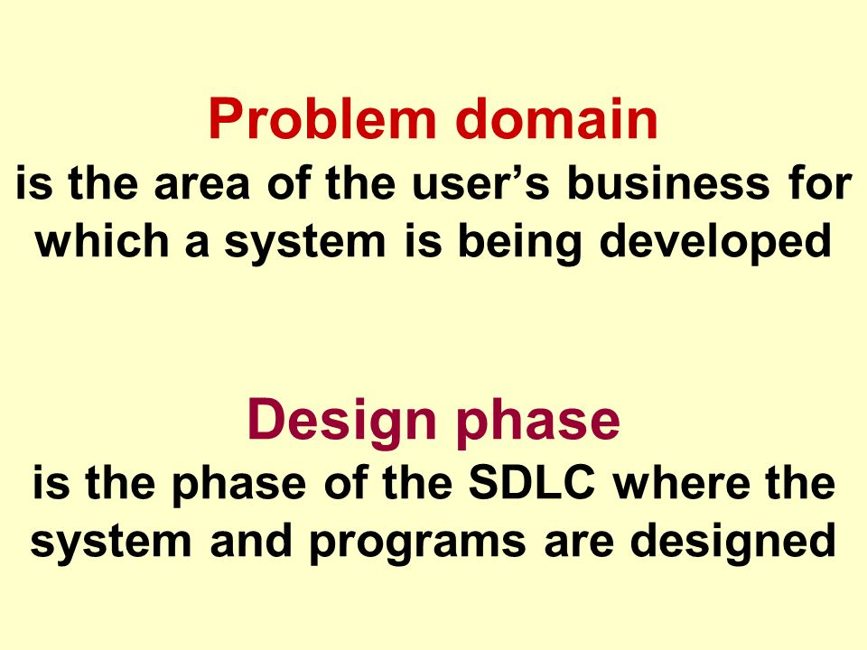 Problem domain is the area of the user's business for which a system is being developed Design phase is the phase of the SDLC where the system and programs are designed