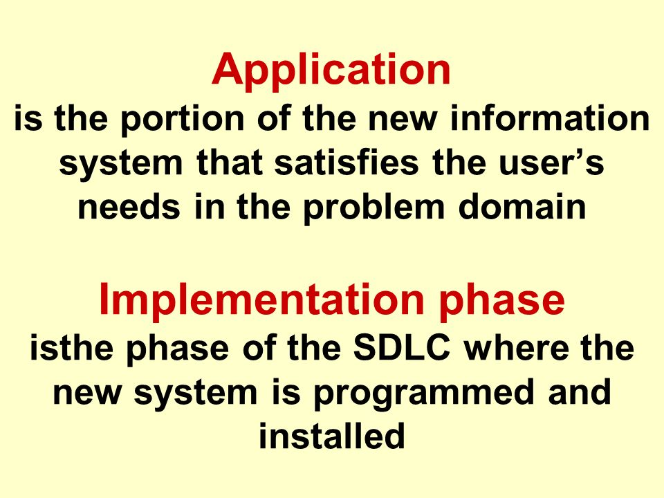 Application is the portion of the new information system that satisfies the user's needs in the problem domain Implementation phase isthe phase of the SDLC where the new system is programmed and installed