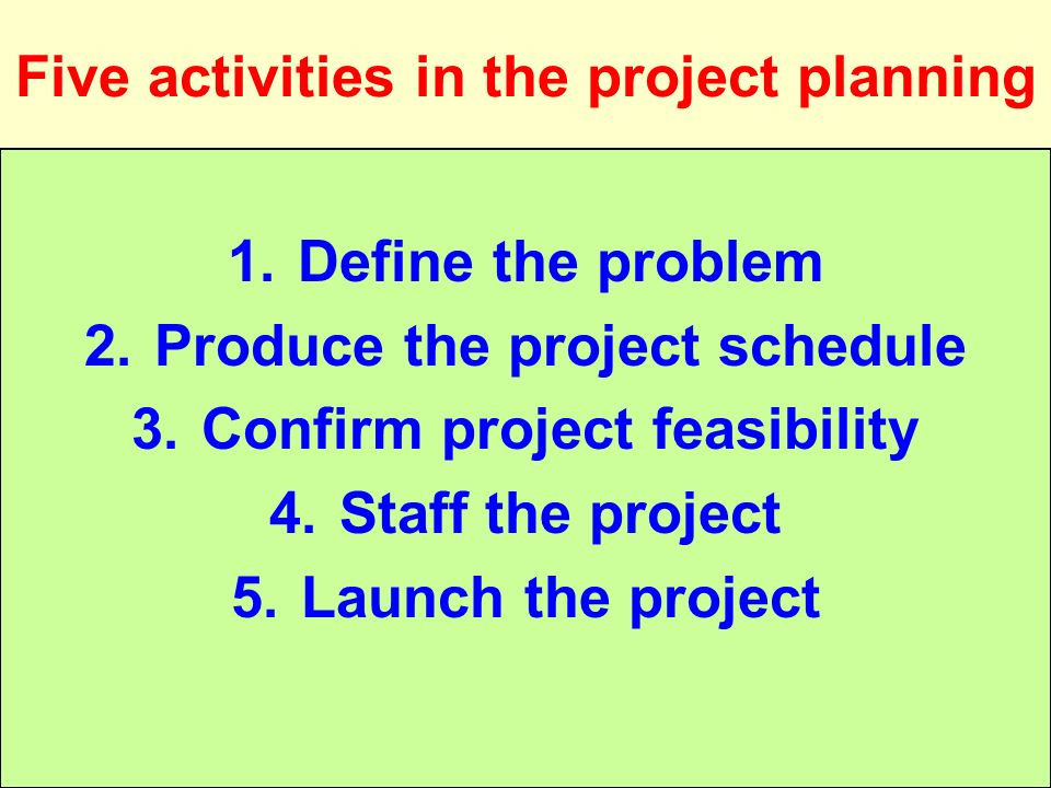 Five activities in the project planning