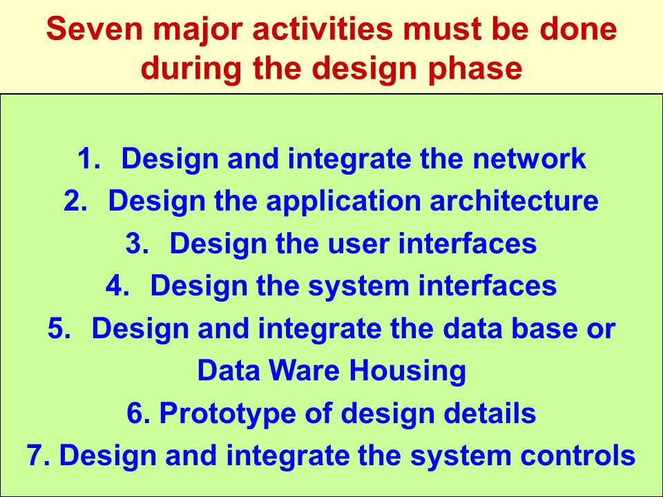 Seven major activities must be done during the design phase