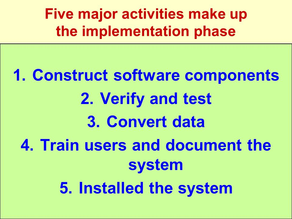 Five major activities make up the implementation phase