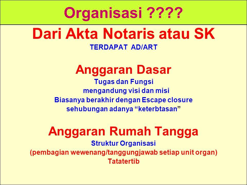 Organisasi Dari Akta Notaris atau SK