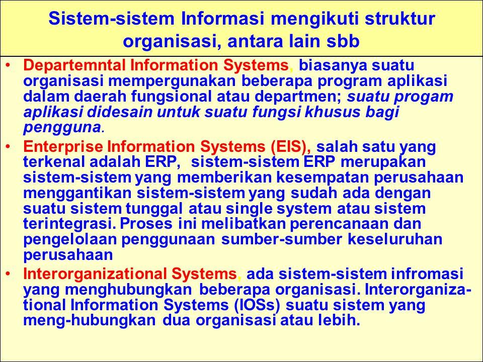 Sistem-sistem Informasi mengikuti struktur organisasi, antara lain sbb