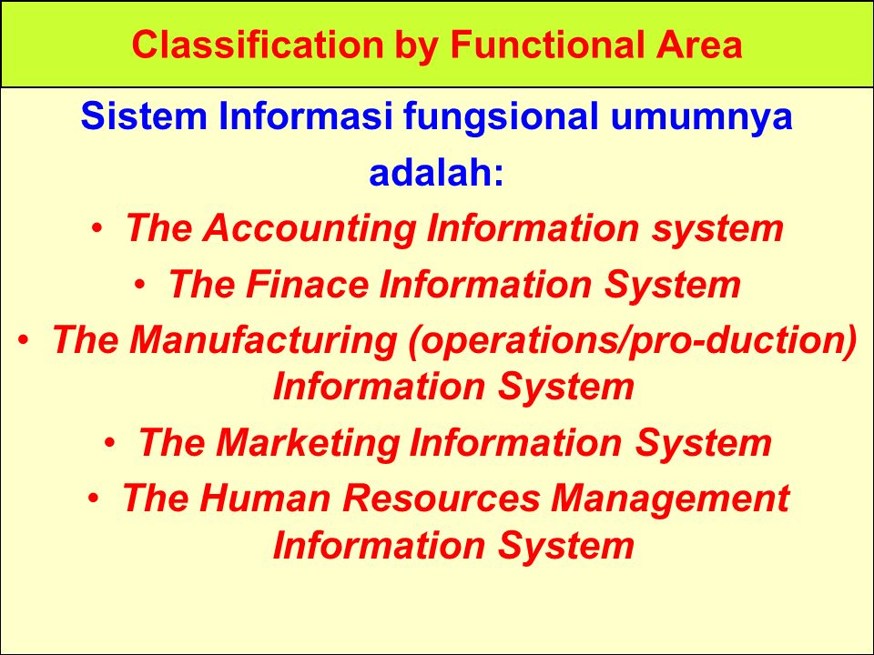 Classification by Functional Area