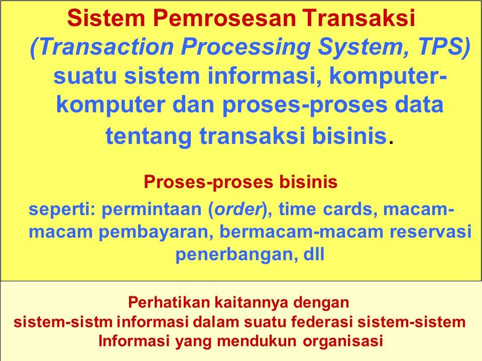 Sistem Pemrosesan Transaksi (Transaction Processing System, TPS) suatu sistem informasi, komputer-komputer dan proses-proses data tentang transaksi bisinis.