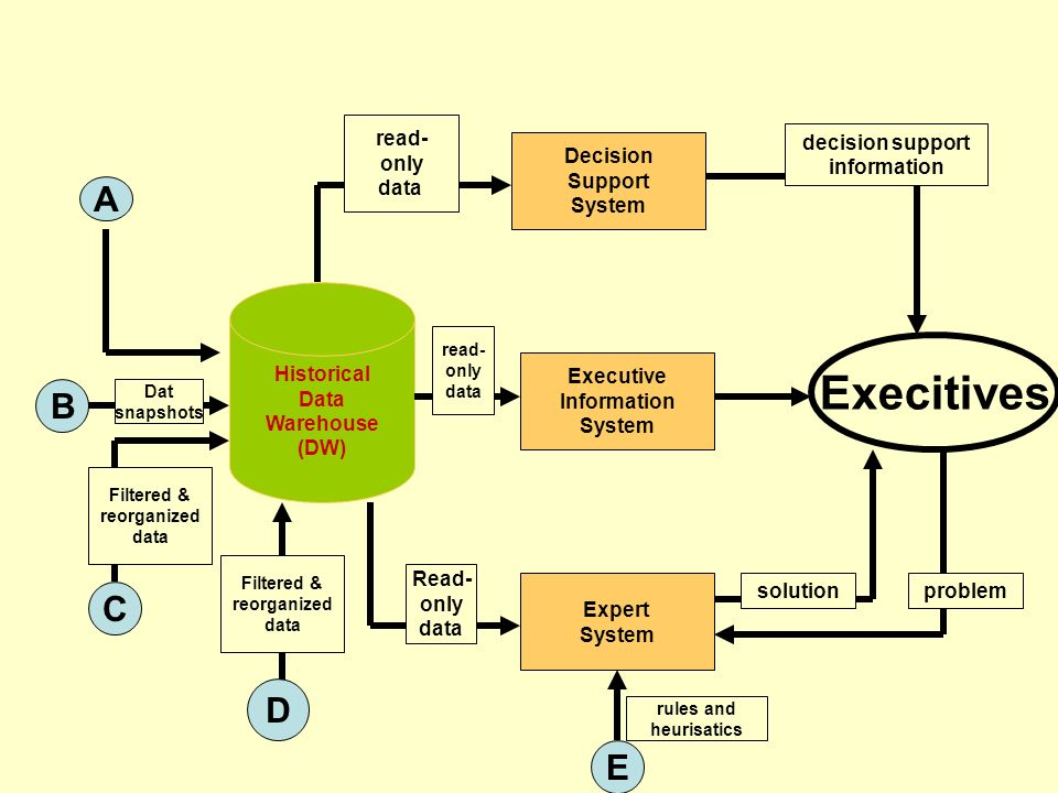 . Execitives A B C D E read- only data decision support information