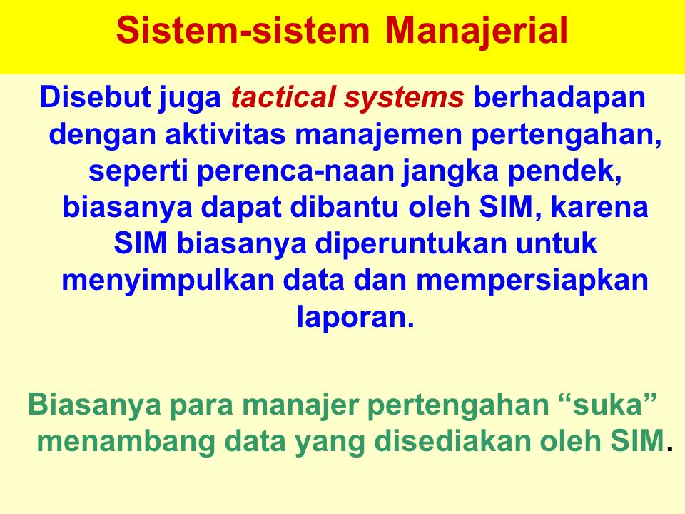 Sistem-sistem Manajerial