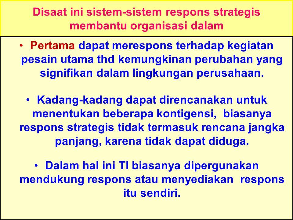Disaat ini sistem-sistem respons strategis membantu organisasi dalam