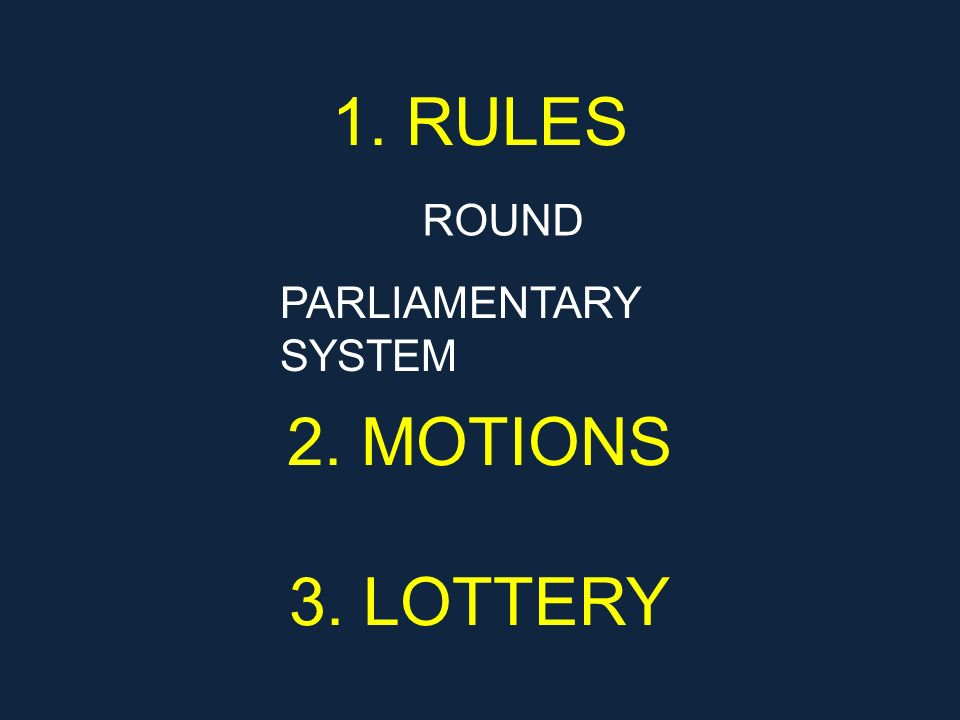 1. RULES 2. MOTIONS 3. LOTTERY ROUND PARLIAMENTARY SYSTEM