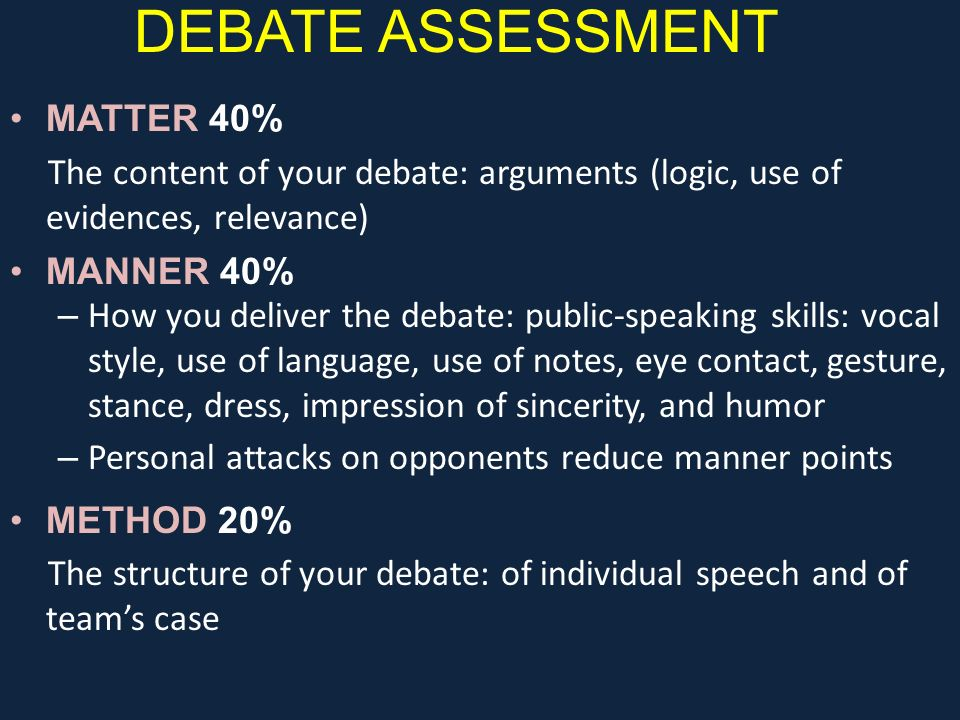 DEBATE ASSESSMENT MATTER 40%