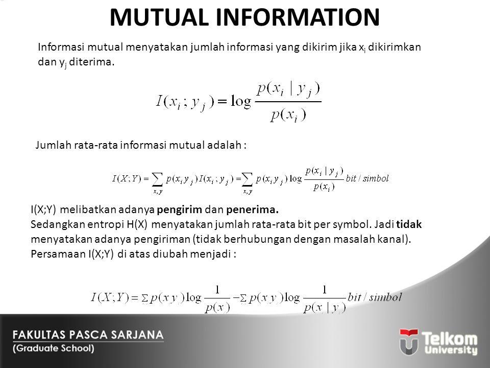 MUTUAL INFORMATION Informasi mutual menyatakan jumlah informasi yang dikirim jika xi dikirimkan dan yj diterima.