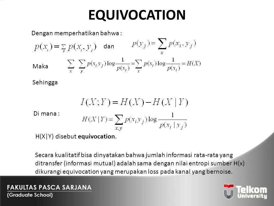EQUIVOCATION Dengan memperhatikan bahwa : dan Maka Sehingga Di mana :