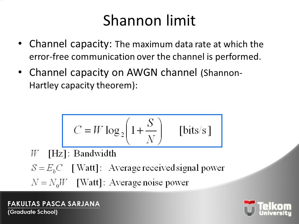 Shannon limit Channel capacity: The maximum data rate at which the error-free communication over the channel is performed.