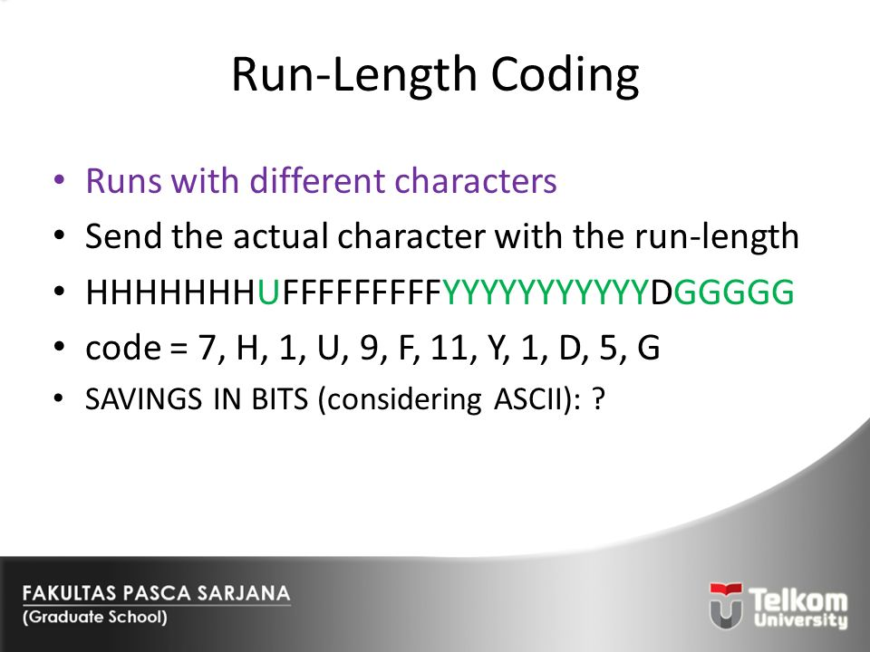 Run-Length Coding Runs with different characters