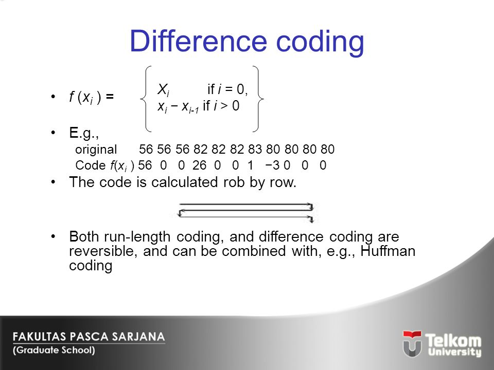 Difference coding f (xi ) = E.g., The code is calculated rob by row.