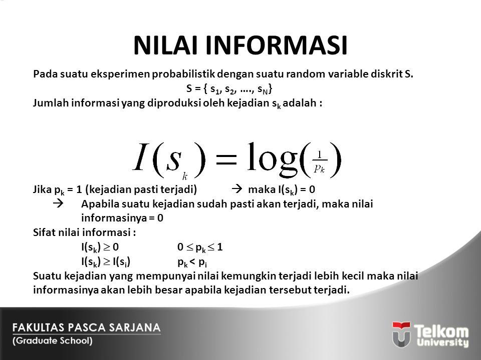 NILAI INFORMASI Pada suatu eksperimen probabilistik dengan suatu random variable diskrit S. S = { s1, s2, …., sN}
