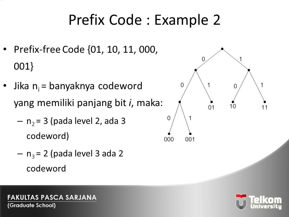 Prefix Code : Example 2 Prefix-free Code {01, 10, 11, 000, 001}