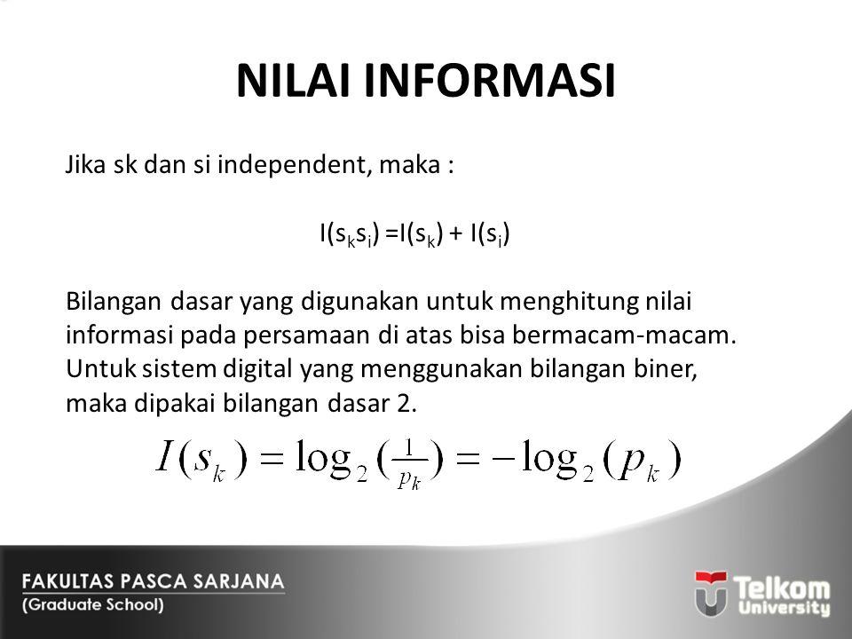 NILAI INFORMASI Jika sk dan si independent, maka :