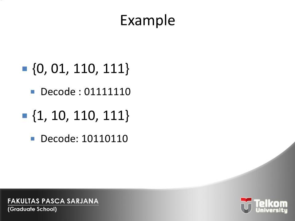 Example {0, 01, 110, 111} Decode : 01111110 {1, 10, 110, 111} Decode: 10110110