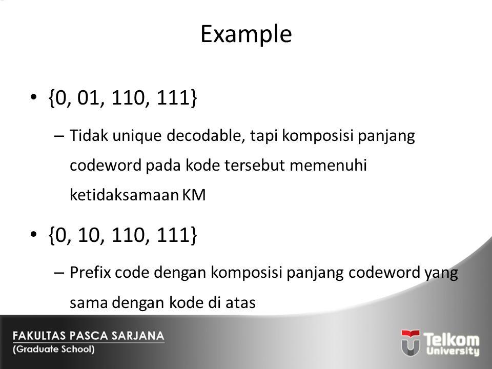 Example {0, 01, 110, 111} Tidak unique decodable, tapi komposisi panjang codeword pada kode tersebut memenuhi ketidaksamaan KM.