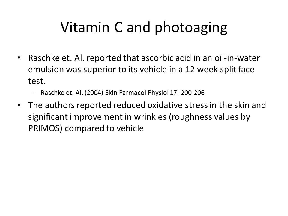 Vitamin C and photoaging