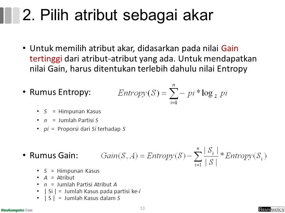 2. Pilih atribut sebagai akar