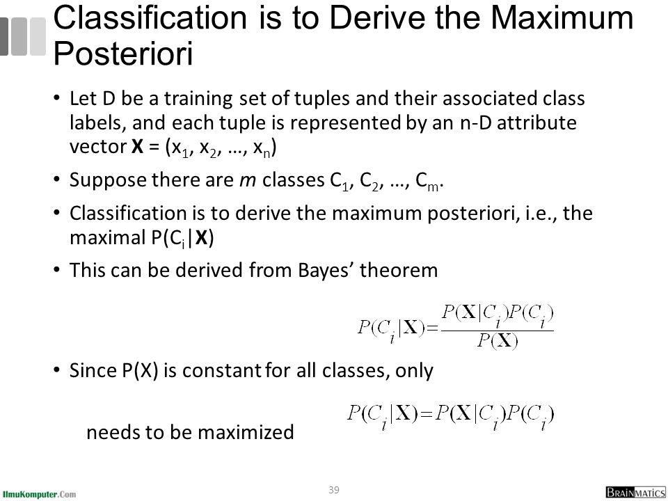 Classification is to Derive the Maximum Posteriori