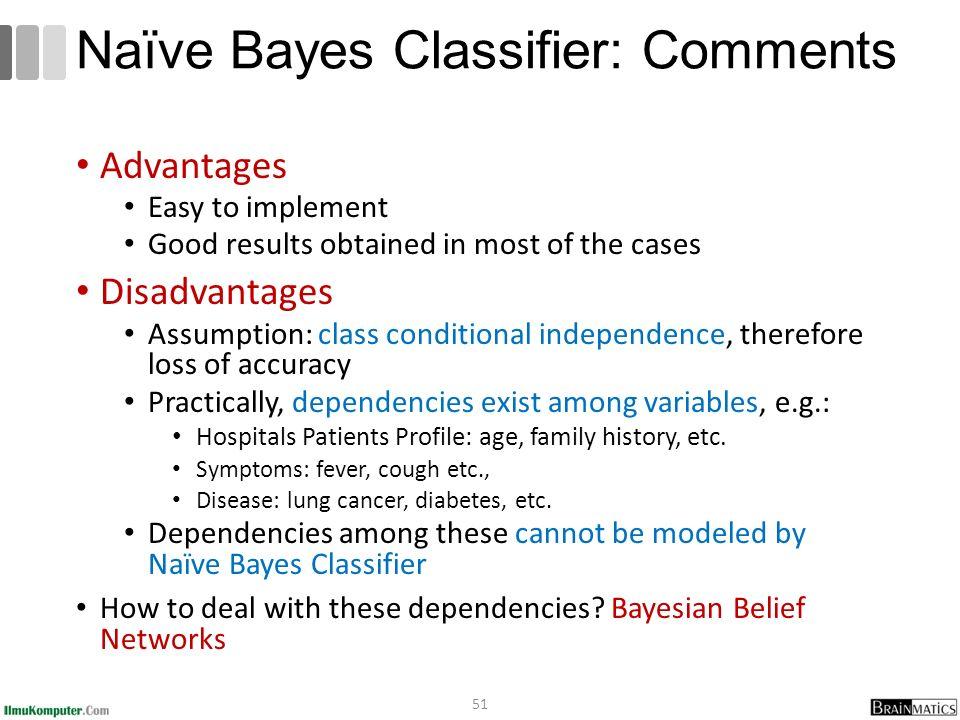 Naïve Bayes Classifier: Comments