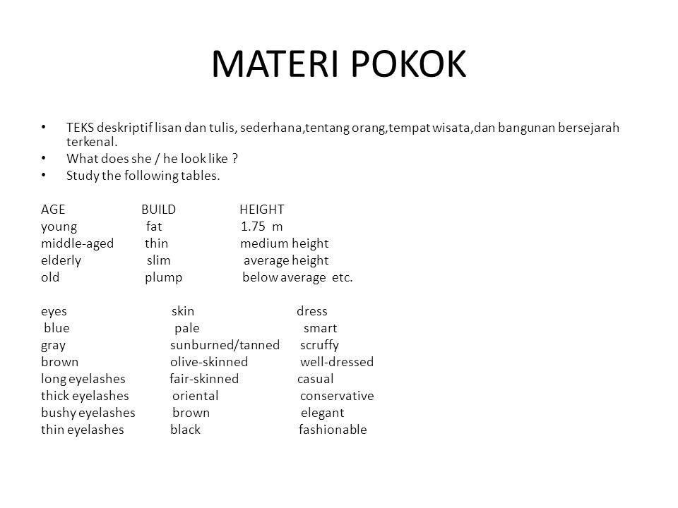 MATERI POKOK TEKS deskriptif lisan dan tulis, sederhana,tentang orang,tempat wisata,dan bangunan bersejarah terkenal.