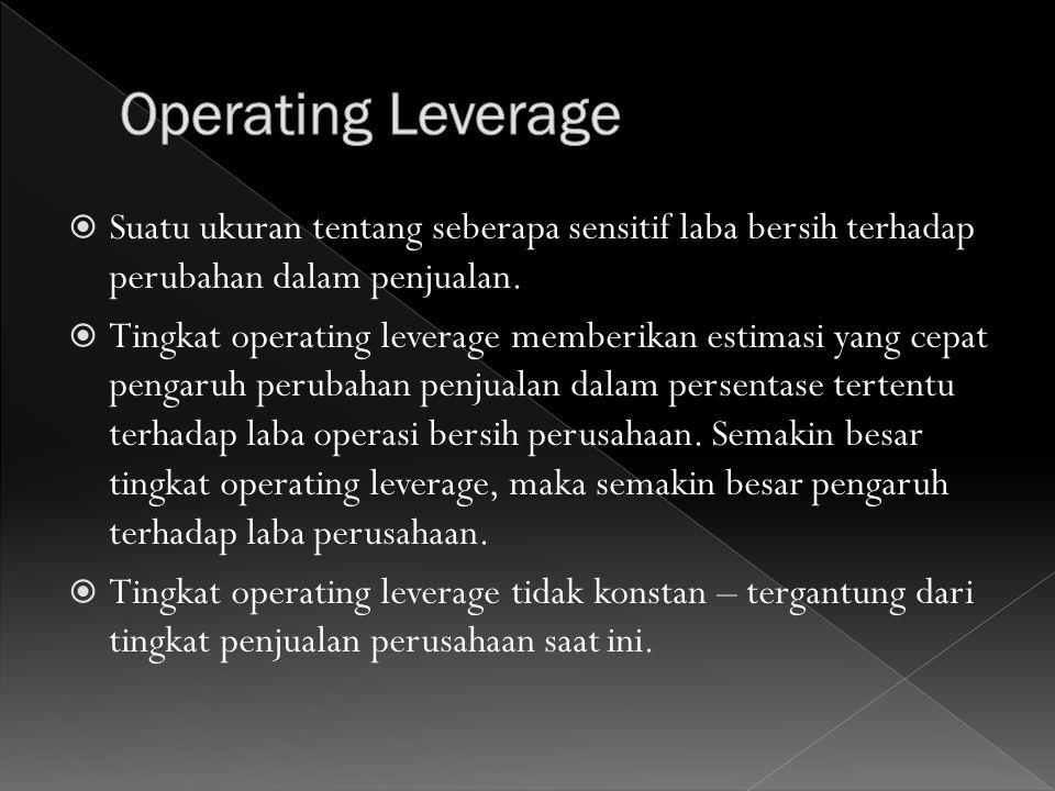 Operating Leverage Suatu ukuran tentang seberapa sensitif laba bersih terhadap perubahan dalam penjualan.