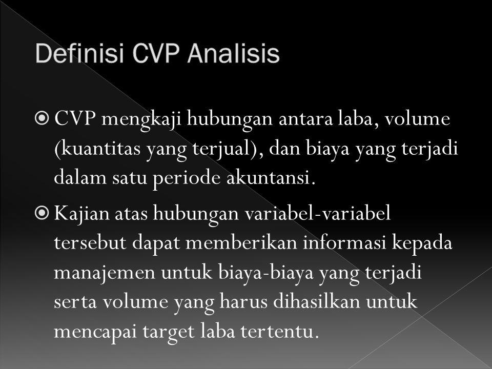 Definisi CVP Analisis CVP mengkaji hubungan antara laba, volume (kuantitas yang terjual), dan biaya yang terjadi dalam satu periode akuntansi.