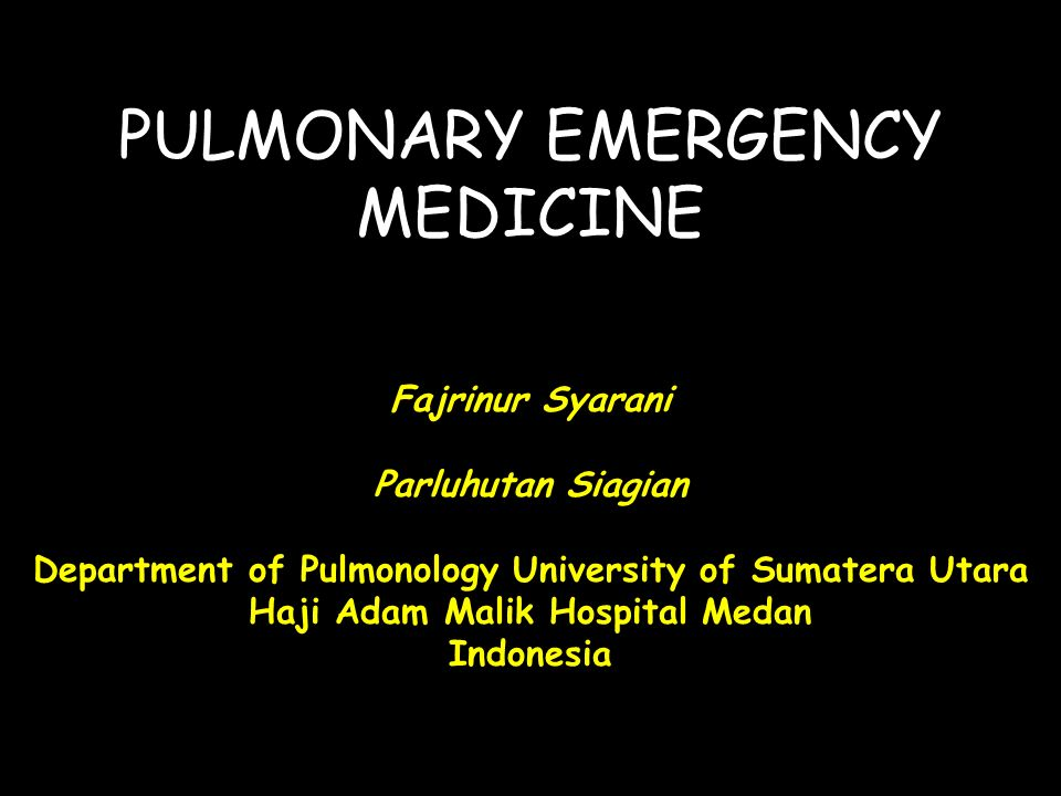 PULMONARY EMERGENCY MEDICINE