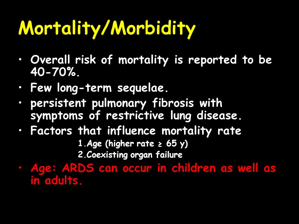 Mortality/Morbidity Overall risk of mortality is reported to be 40-70%. Few long-term sequelae.