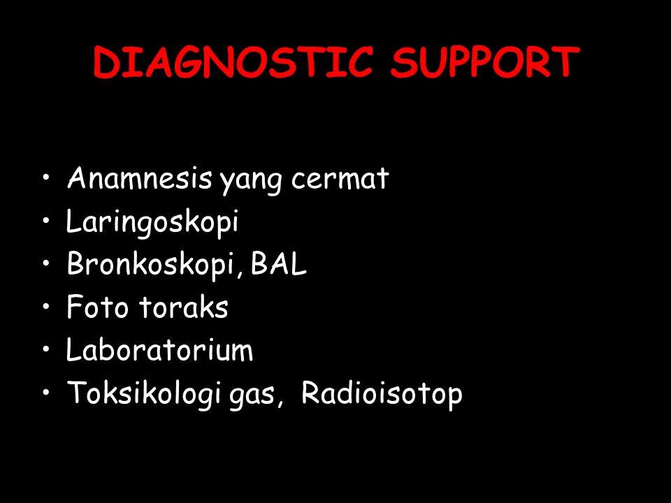 DIAGNOSTIC SUPPORT Anamnesis yang cermat Laringoskopi Bronkoskopi, BAL