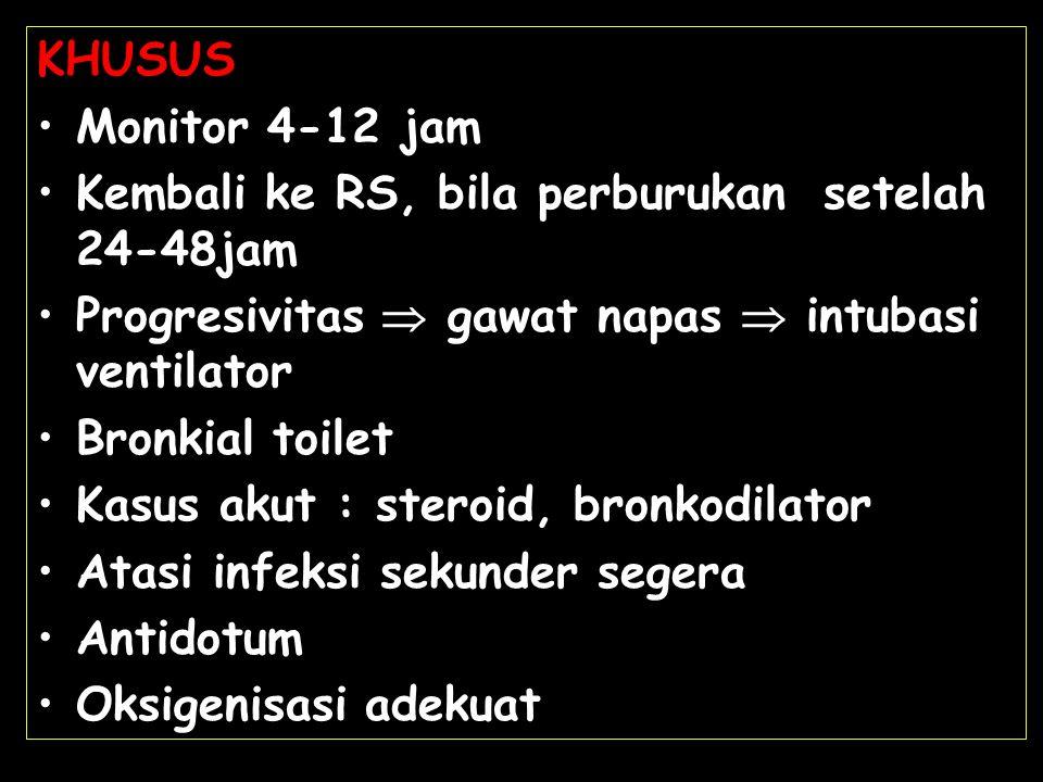 KHUSUS Monitor 4-12 jam. Kembali ke RS, bila perburukan setelah 24-48jam. Progresivitas  gawat napas  intubasi ventilator.