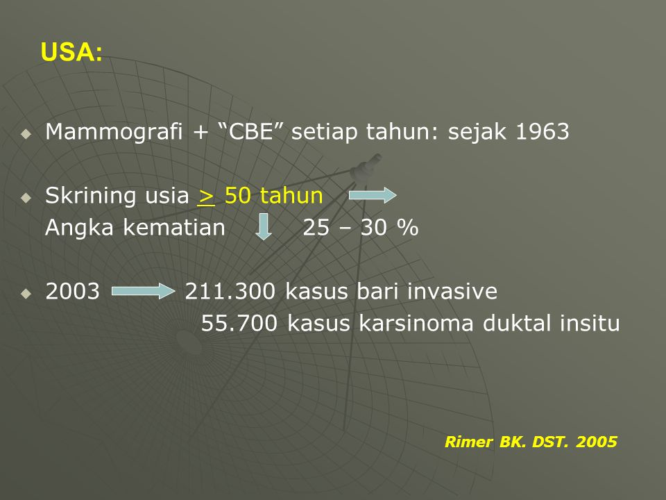 USA: Mammografi + CBE setiap tahun: sejak 1963