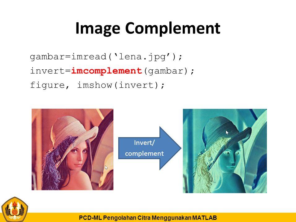Image Complement gambar=imread('lena.jpg'); invert=imcomplement(gambar); figure, imshow(invert); Invert/
