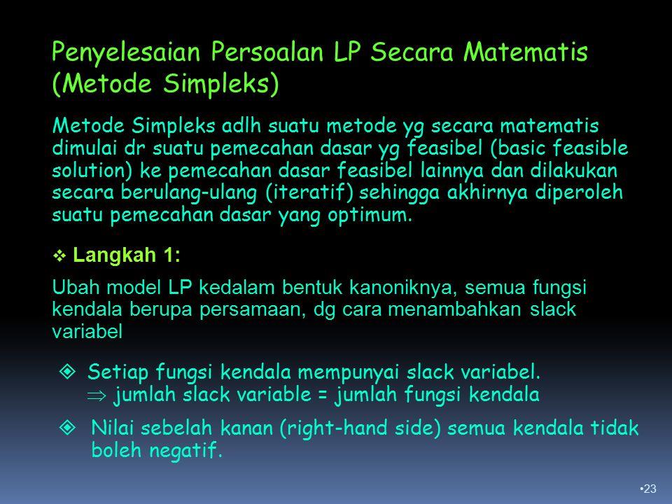 Penyelesaian Persoalan LP Secara Matematis (Metode Simpleks)