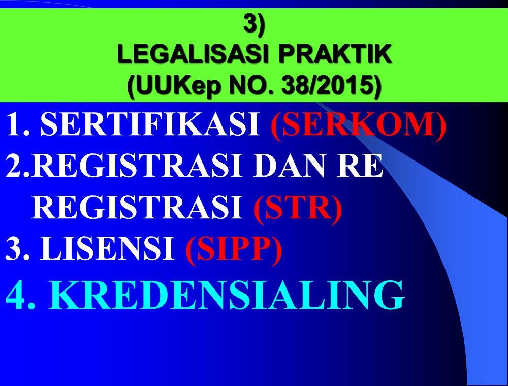 3) LEGALISASI PRAKTIK (UUKep NO. 38/2015)
