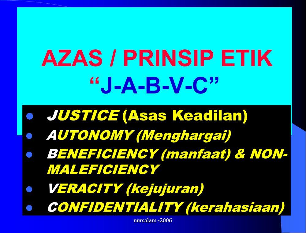 AZAS / PRINSIP ETIK J-A-B-V-C