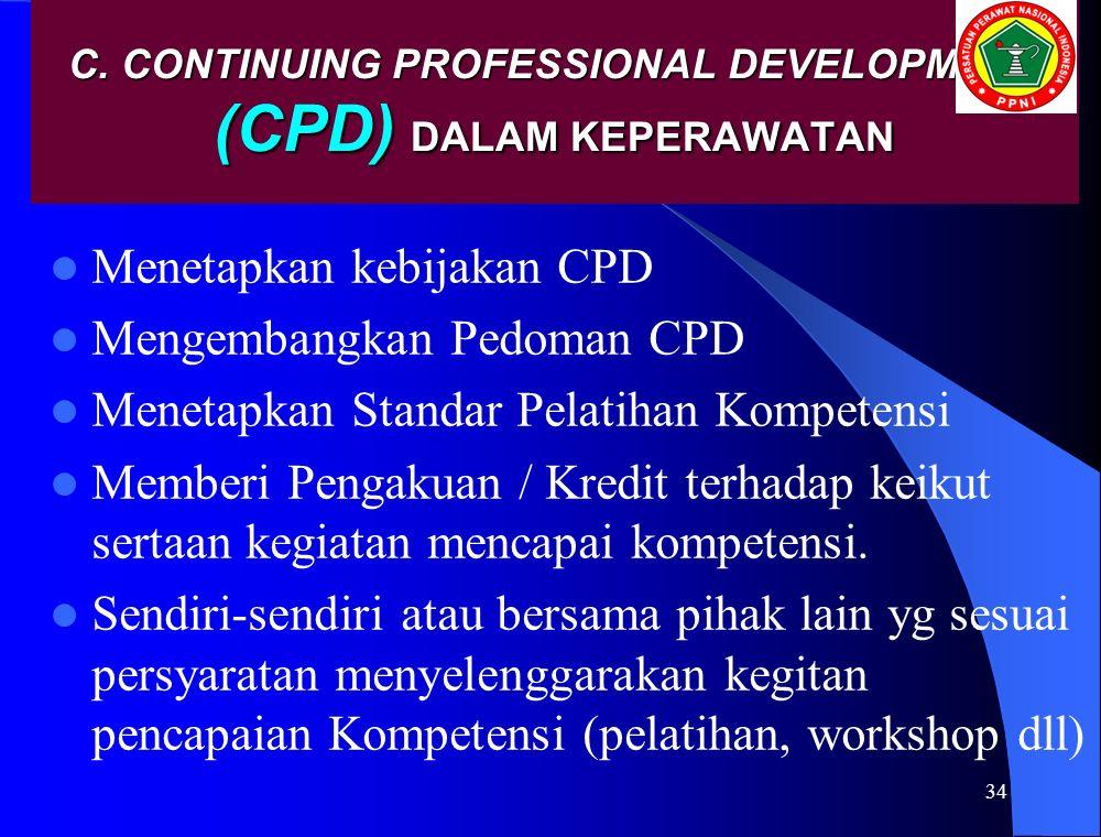 C. CONTINUING PROFESSIONAL DEVELOPMENT (CPD) DALAM KEPERAWATAN