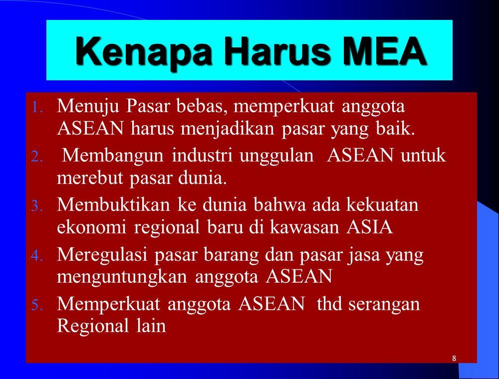 Kenapa Harus MEA Menuju Pasar bebas, memperkuat anggota ASEAN harus menjadikan pasar yang baik.